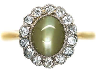 Edwardian 18ct Gold, Diamond & Cat's Eye Chrysoberyl Cluster Ring