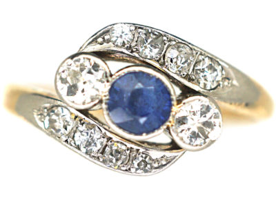 Edwardian 18ct Gold & Platinum Sapphire & Diamond Twist Ring