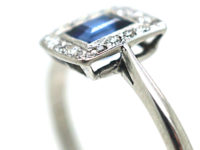 Art Deco 18ct White Gold Sapphire & Diamond Rectangular Shaped Cluster Ring