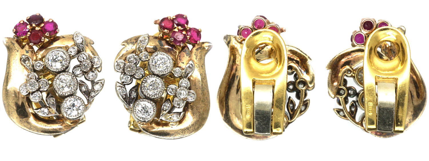 Retro 18ct White & Yellow Gold, Ruby & Diamond Clip On Earrings