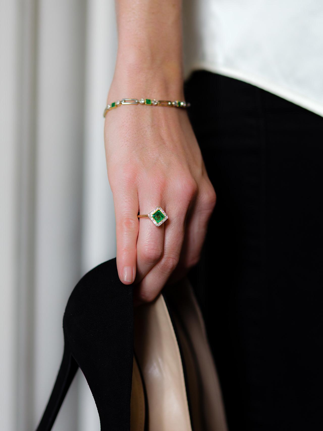 Art Deco 18ct Gold & Platinum, Emerald & Diamond, Diamond Shaped Ring