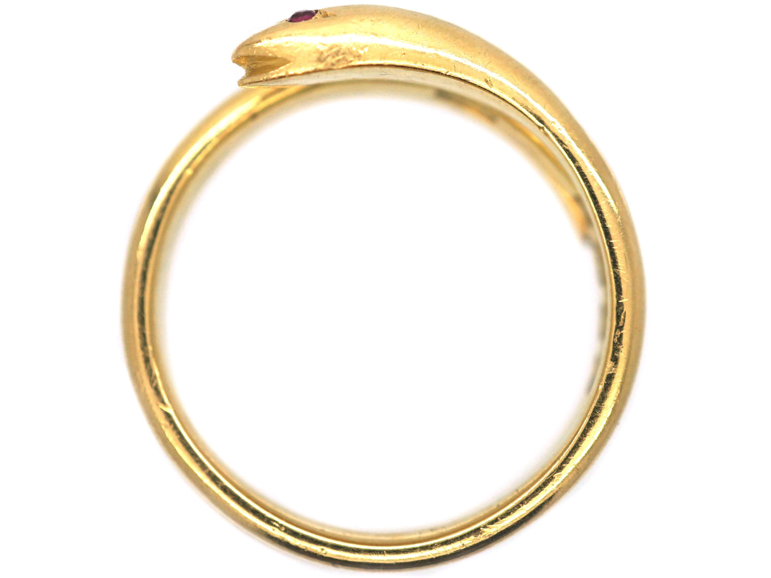 Victorian 18ct Gold Snake Ring with Ruby Eyes