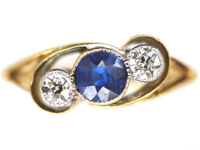 Edwardian 18ct Gold, Sapphire & Diamond Twist Ring