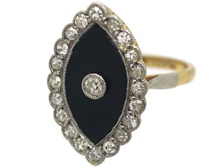 Art Deco 18ct Gold & Platinum, Onyx & Diamond Marquise Shaped Ring