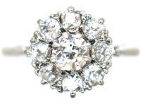 18ct White Gold & Platinum, Diamond Daisy Cluster Ring