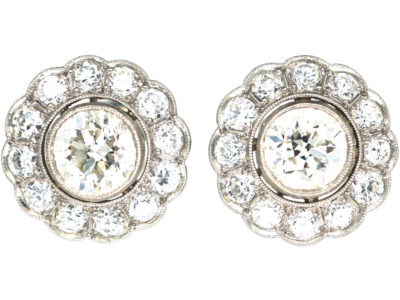Early 20th Century Platinum & Diamond Cluster Earrings