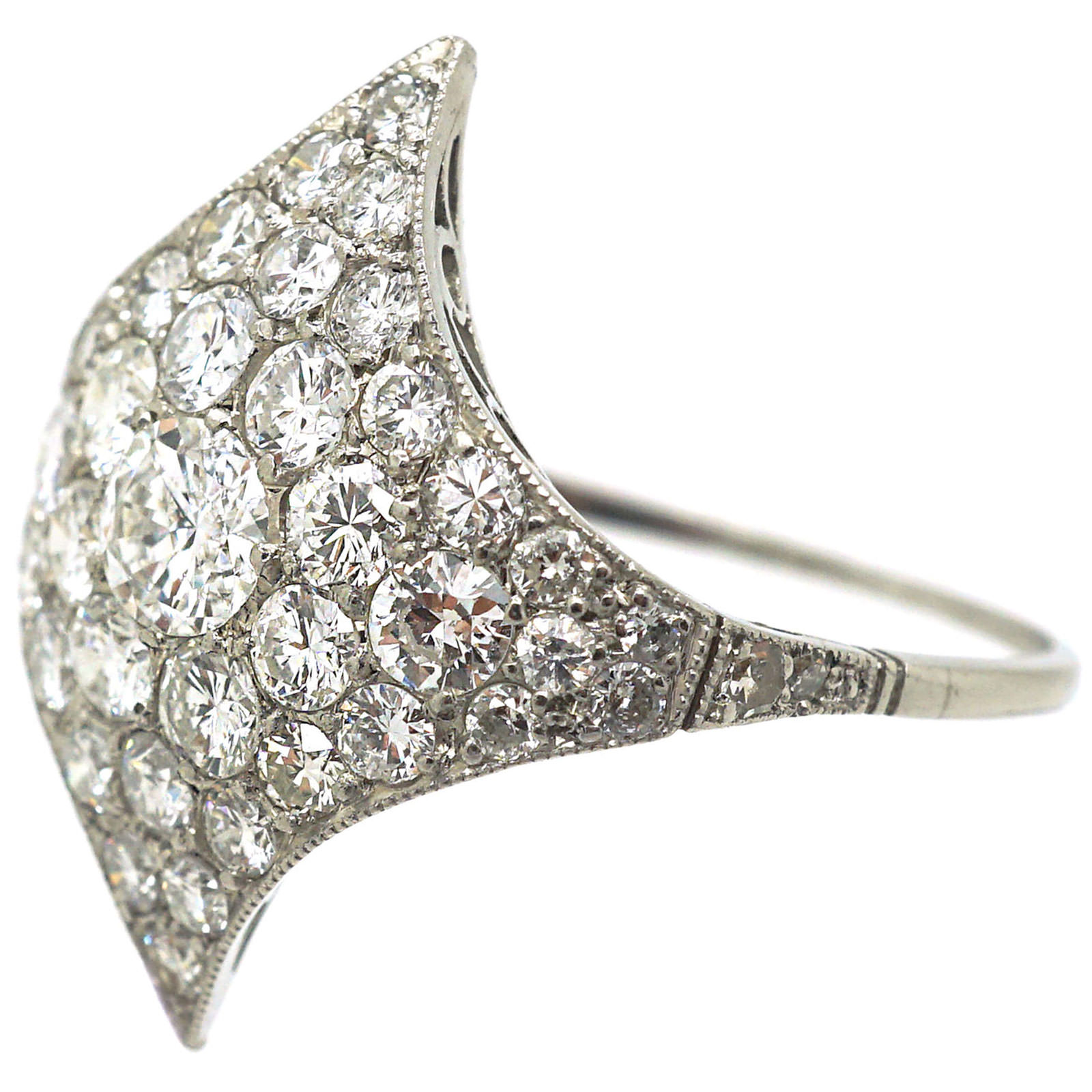 Art Deco Platinum Curved Pavé Diamond-Shaped Cluster Ring
