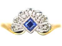 Art Deco 18ct Gold & Platinum, Diamond & Sapphire Fan Ring