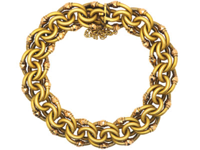 French Belle Epoque 18ct Two Colour Gold Woven Design Bracelet
