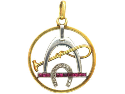 Art Deco 18ct gold & Platinum, Diamond & Ruby Stirrup, Whip & Horseshoe Pendant