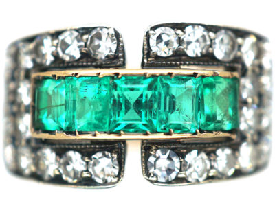 Art Deco 14ct Gold Emerald & Diamond Buckle Ring