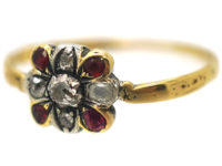 Georgian 18ct Gold, Ruby & Diamond Ring