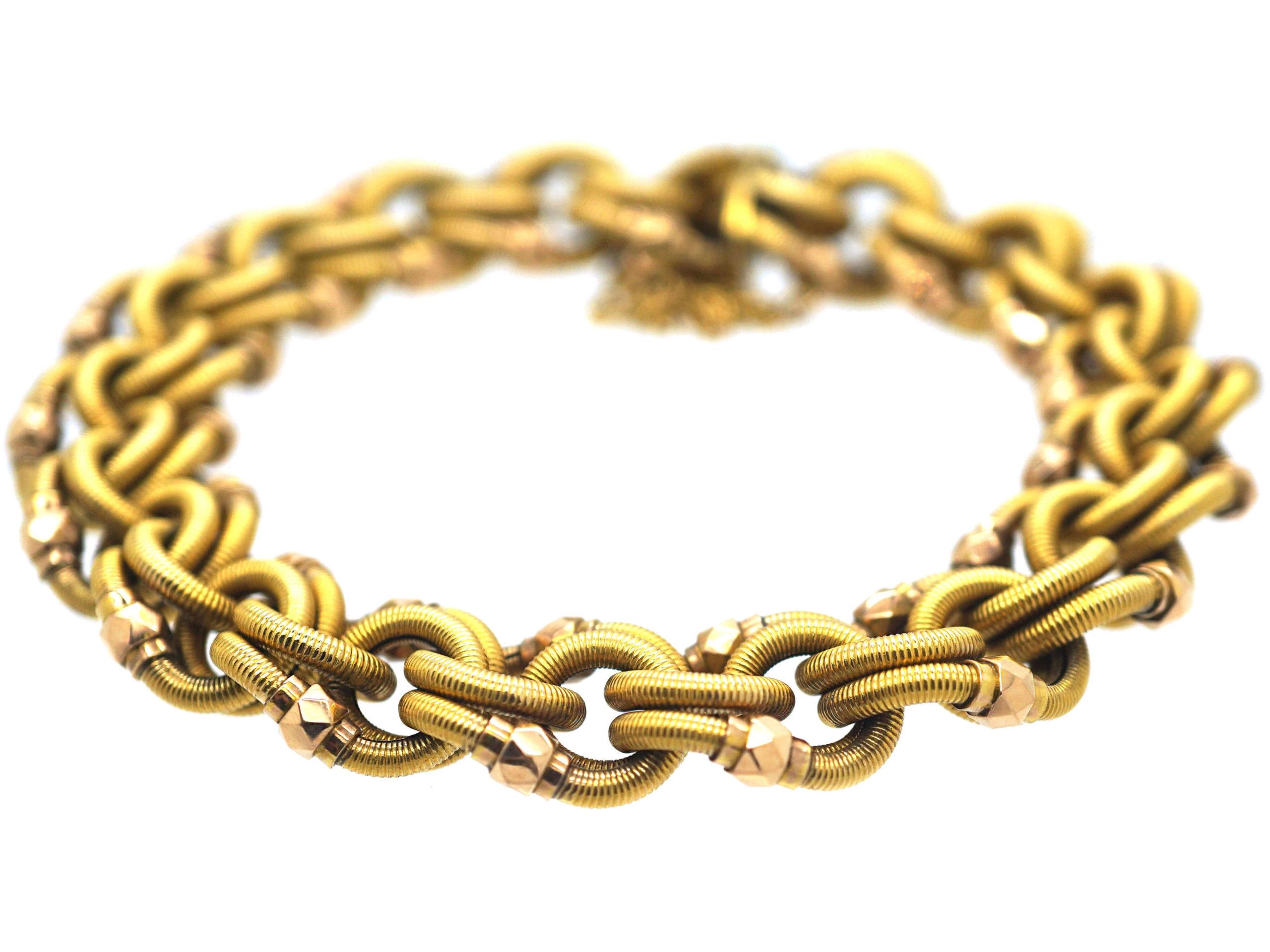 French Belle Epoque 18ct Two Colour Gold Woven Design Bracelet