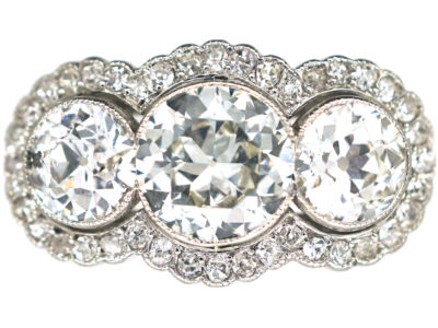 Edwardian Platinum & Diamond Triple Cluster Ring