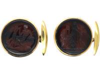 Victorian 15ct Gold & Carnelian Intaglio Cufflinks of Greek Scenes