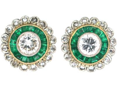 Art Deco 18ct Gold & Platinum, Emerald & Diamond Target Earrings