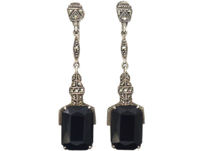 Art Deco Silver Onyx & Marcasite Drop Earrings
