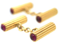 French Art Deco 18ct Gold & Cabochon Ruby Cufflinks
