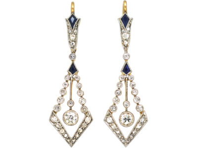 Art Deco 18ct Gold & Platinum, Sapphire & Diamond Drop Earrings