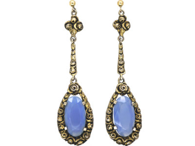 Art Deco Silver & Chalcedony Earrings by Theodor Fahrner