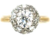 Art Deco 18ct Gold & Platinum, Diamond Daisy Cluster Ring