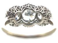 Edwardian Platinum & Diamond Triple Cluster Ring