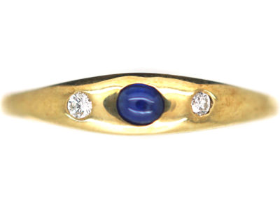 14ct Gold Cabochon Sapphire & Diamond Rub Over Set Ring