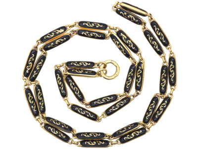 Victorian 18ct Gold & Black Enamel Chain
