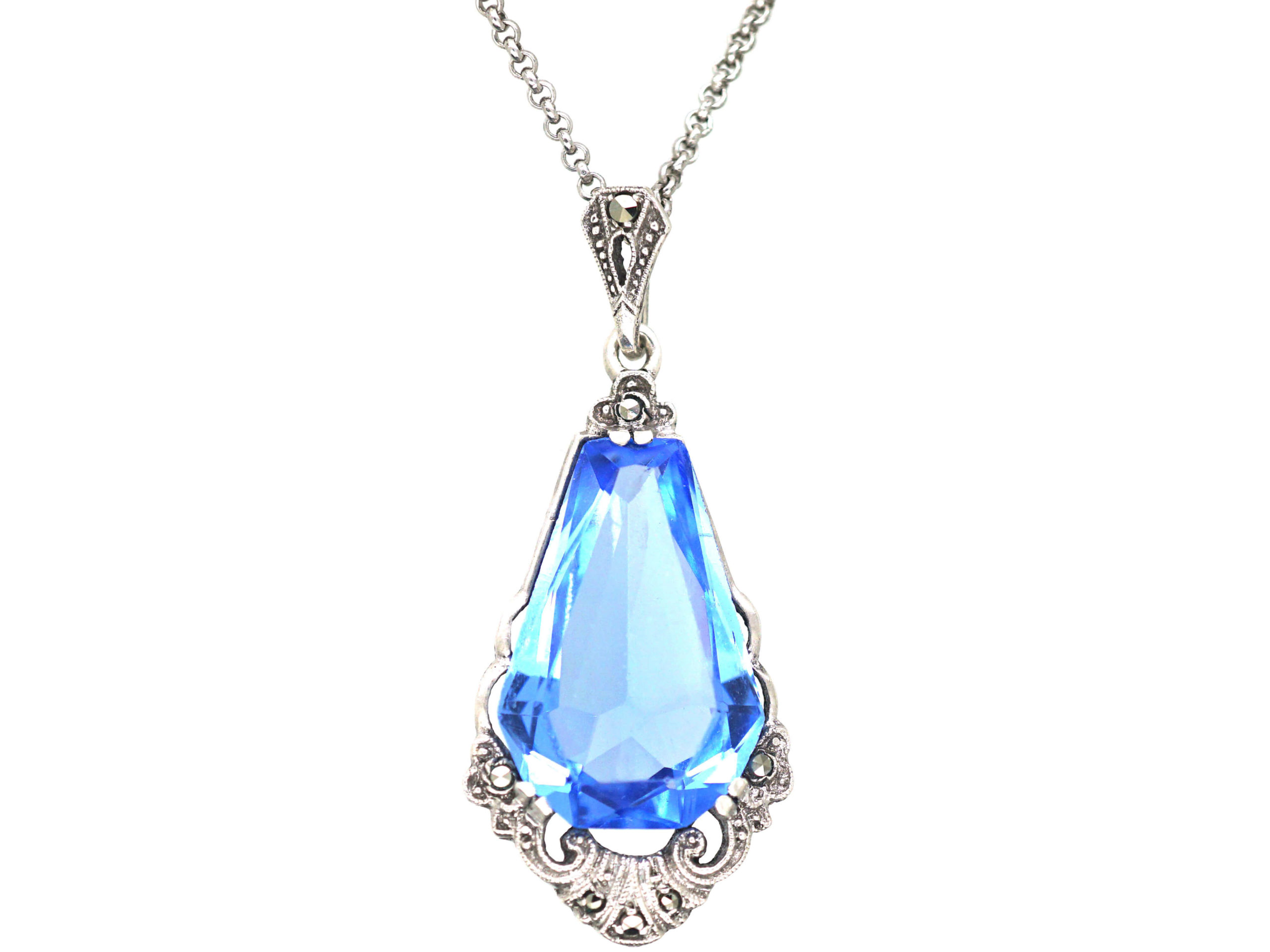 Art Deco Silver & Synthetic Blue Spinel Drop Pendant on a Silver Chain