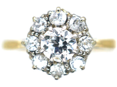18ct Gold & Platinum, Diamond Daisy Cluster Ring