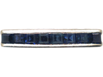 Art Deco 18ct White Gold & Sapphire Half Eternity Ring