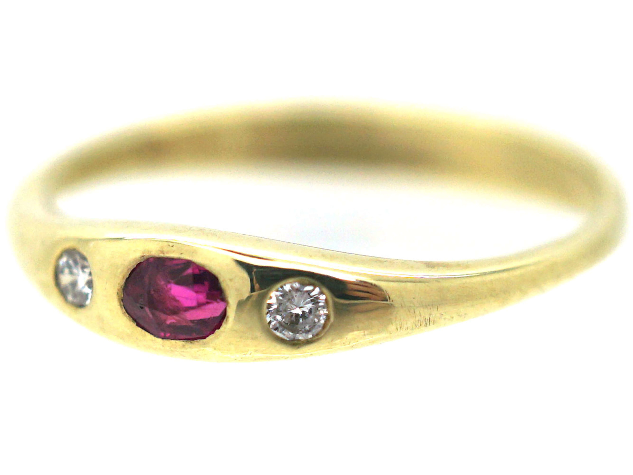 14ct Gold, Ruby & Diamond Three Stone Rub Over Set Ring