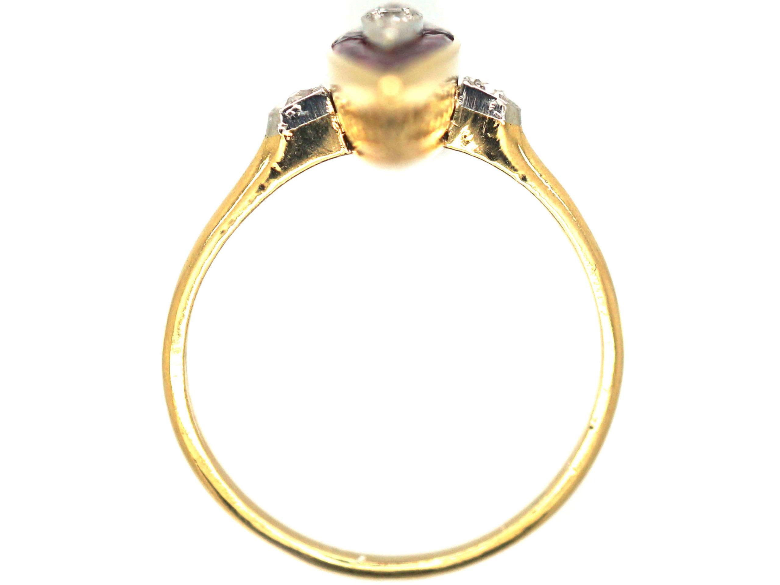 Art Deco 18ct Gold & Platinum Diamond & Ruby Marquise Ring