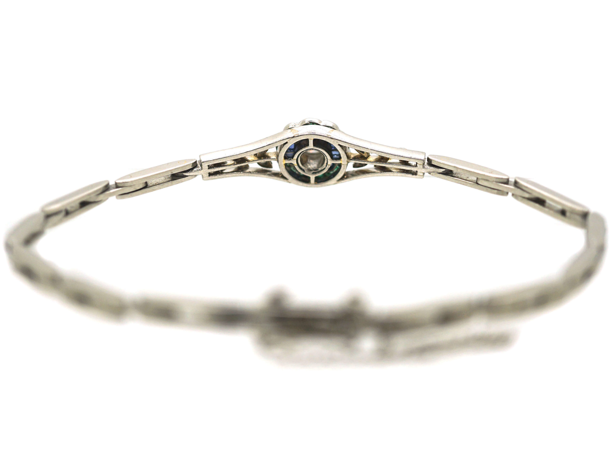 Art Deco Platinum, Diamond Emerald & Sapphire Bracelet