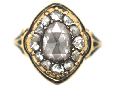 Victorian 18ct Gold & Black Enamel, Rose Diamond Ring with Pear Shaped Rose Diamond in the Centre
