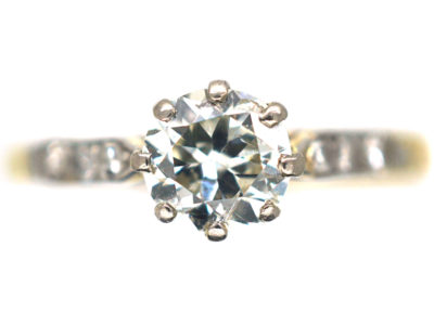 Art Deco 18ct Gold & Platinum, Diamond Solitaire Ring