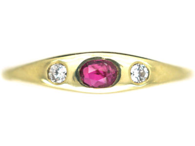 14ct Gold, Ruby & Diamond Three Stone Rub Over Set Ring