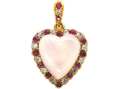 Edwardian 18ct Gold Heart Shaped Opal Diamond & Ruby Pendant