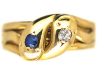 Victorian 18ct Gold Double Snake Ring set with a Sapphire & a Diamond