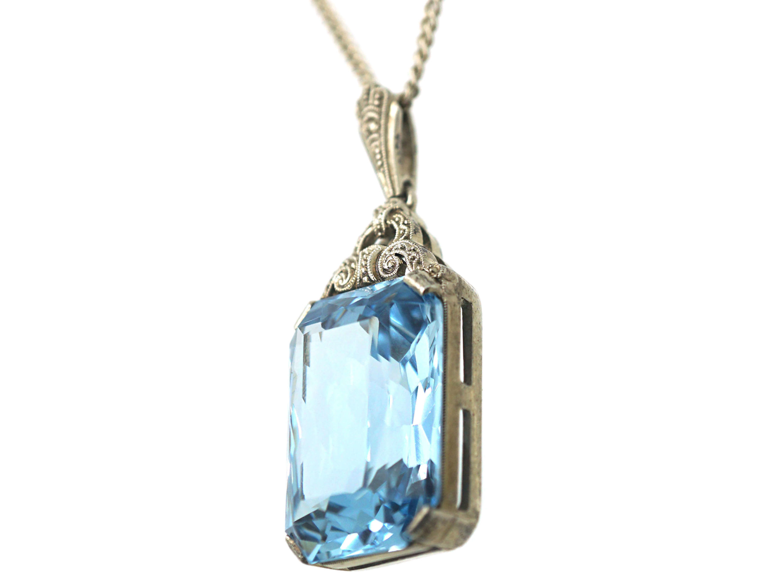 Art Deco Silver & Synthetic Blue Spinel Pendant on a Silver Chain
