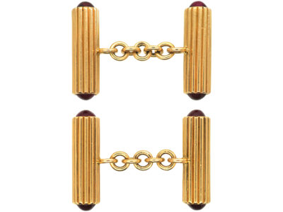 French Art Deco 18ct Gold & Cabochon Ruby Cufflinks