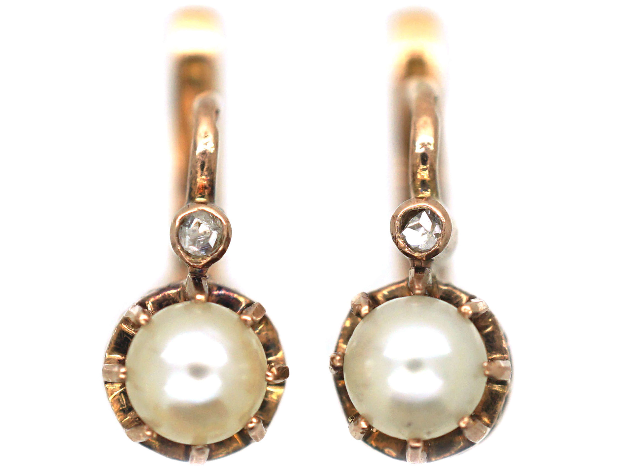 18ct Gold, Natural Pearl & Rose Diamond Earrings