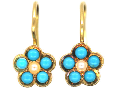 Edwardian 18ct Gold, Turquoise & Natural Split Pearl Forget Me Not Flower Earrings