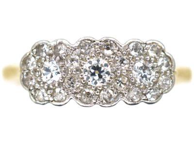 Edwardian 18ct Gold & Platinum, Diamond Triple Cluster Ring