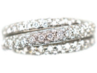 18ct White Gold & Diamond Triple Crossover Ring
