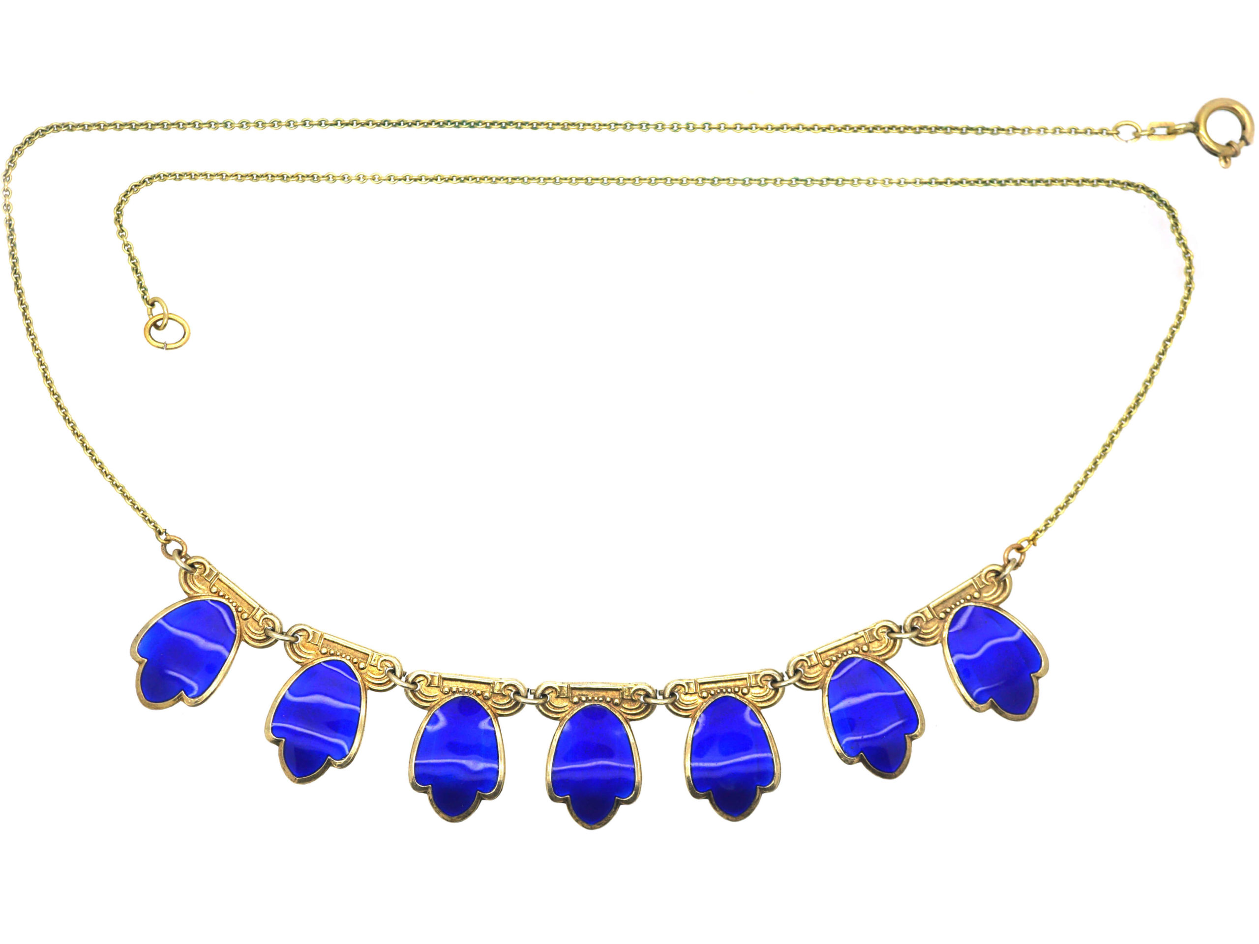 Silver Gilt & Blue Enamel Tulip Necklace by Andresen & Scheinpflug