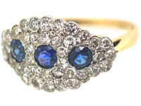 18ct Gold & Platinum Three Stone Sapphire & Diamond Cluster Ring