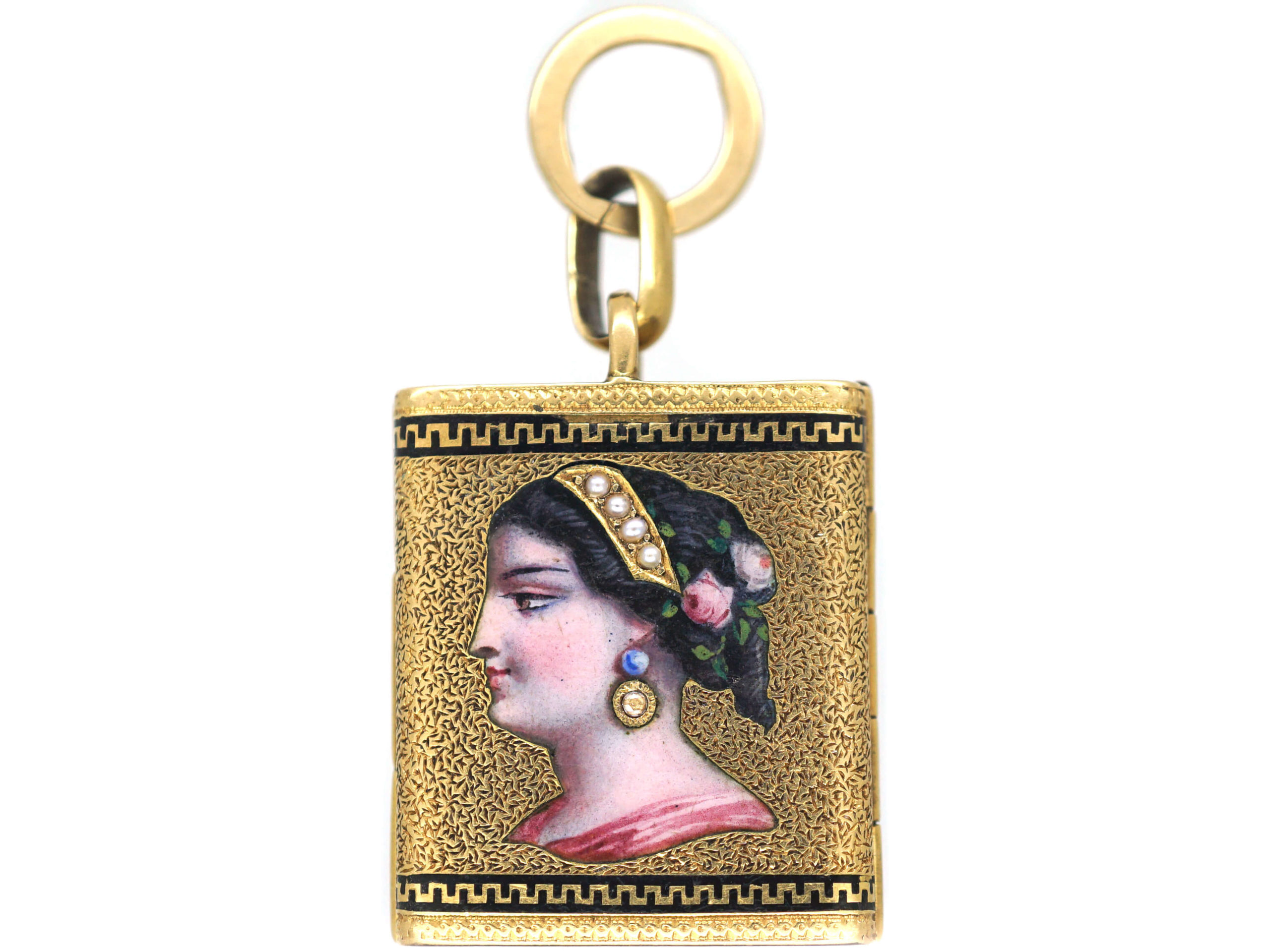 Victorian 18ct Gold Envelope Locket with Enamelled Lady & Eight Locket Compartments Inside