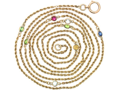 Edwardian 9ct Gold Chain set with a Sapphire & Semi Precious Stones