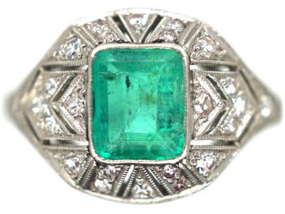 Art Deco Platinum Emerald & Diamond Ring
